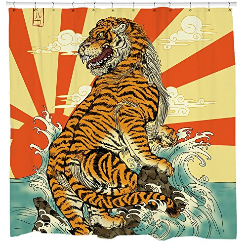 Sharp Shirter Awesome Tiger Shower Curtain Set Cool Japanese...