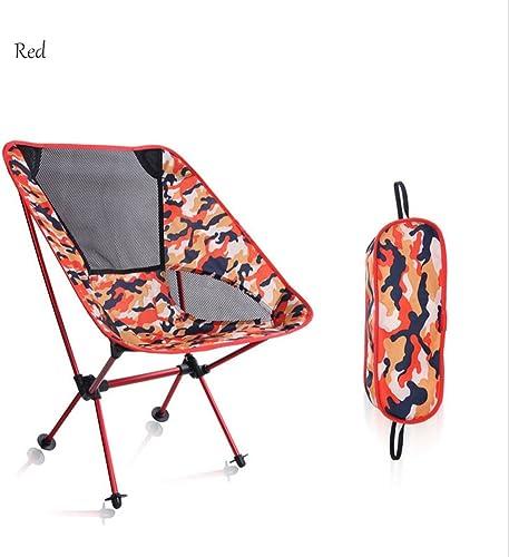 Wsffsw Frw-Chaise ExtéRieure Multifonctionnelle Portative De Camouflage D'Alliage D'Aluminium De Plage Portative De Camping, rouge