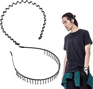 shefun メンズ カチューシャ スプリング ヘアバンド 鉄 波型 くし付き 滑り止め 痛くない 黒 シンプル 前髪 髪飾り 2本セット JP159