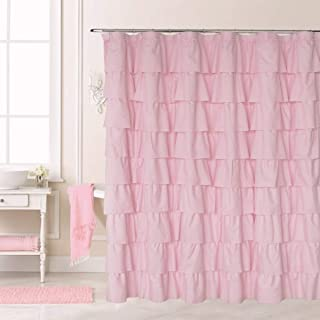 Ameritex Ruffle Shower Curtain Home Decor   Soft Polyester, Decorative Bathroom Accessories   Great for Showers & Bathtubs  Large Size,72