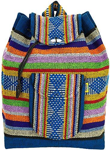Pinzon Escolar - Mochila hippie para niñas y niños, unisex, bohemia, grande, con cordón, lona azteca Multicolor multicolor large