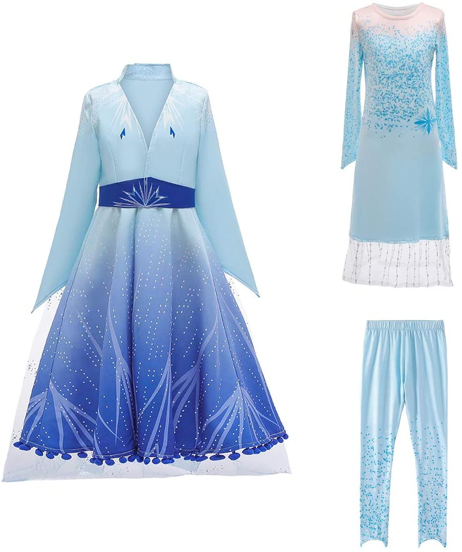Luzlen Princess Dress for Girls Halloween Carnival Party Cosplay Dress Up Costumes Blue