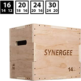 Synergee 3 in 1 Plyometric Box for Jump Training and Conditioning. Foam, Wooden and Non Slip Plyo Boxes. All in One Jump Trainer. Sizes 30/24/20, 24/20/16, 20/18/16, 16/14/12