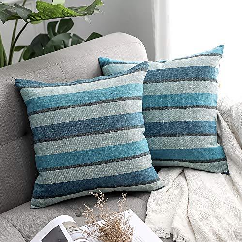 MIULEE 2er Set Streifen Leinenoptik Home Dekorative Kissenbezug Kissenhülle Kissenbezug für Sofa Schlafzimmer Auto mit Reißverschlüsse 40x40cm Blau
