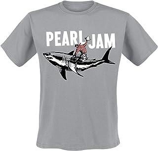 Pearl Jam Shark Cowboy Hombre Camiseta Gris, Regular