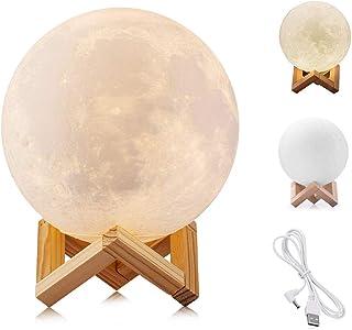 WYCY 3D lampara de luna 3.1 inch 2 colores Control táctil lamparas de buro lampara de lava conmutada Brillo con puerto de carga USB (Blanco + amarillo, 8CM)