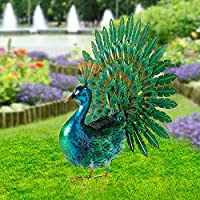 Chisheen Solar Light Outdoor Metal Yard Peacock Garden Statues