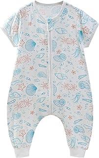 FEOYA Gigoteuse à Pied Bébé Manches Courtes Combinaison Fille Garçon Douillette Coton Pyjama Sac de Couchage Eté
