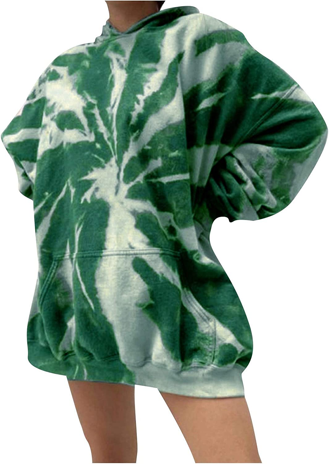 Forwelly Women Oversize Hoodies Fashion Tie-Dye Printed Hooded Sweatshirts Pullover Casual Long Sleeve Tunic Tops