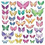 DECOWALL DW-1602 Mariposas en Acuarela Vinilo Pegatinas Decorativas Adhesiva Pared Dormitorio Salón Guardería Habitación Infantiles Niños Bebés