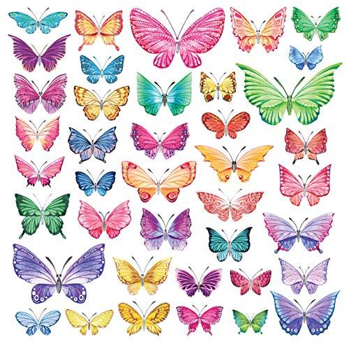 Decowall DW-1602 Aquarell Schmetterlinge Tiere Wandtattoo Wandsticker Wandaufkleber Wanddeko für Wohnzimmer Schlafzimmer Kinderzimmer