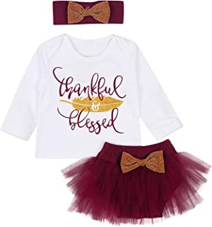 Newborn Baby Girls Thankful Blessed Feather Print T-Shirt Top Tulle Tutu Skirts with Headband 3Pcs Thanksgiving Set