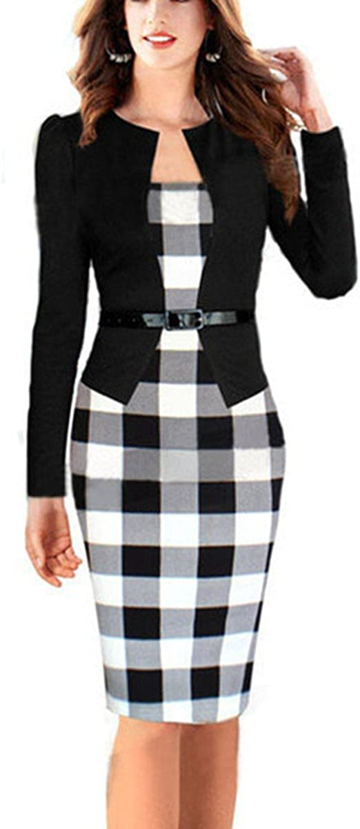 Allonly Women Colorblock Wear to Work Business Party Bodycon One-Piece Dress