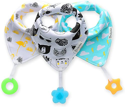Vuminbox Baby Bandana Bibs Set 3-Pack Super Teething Absurbent Drool Bandana Bibs 100% Organic Cotton