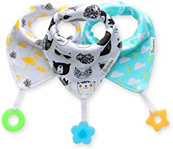 Baby Bandana Drool Bibs 3-Pack and Teething Toys 3-Pack Made with 100% Organic Cotton,..