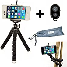 Flexible iPhone Tripod for Smartphone with Bluetooth Remote Control Compatible with iPhone X XS XR 8 7 6S 6 SE Galaxy S9 S8 S7 S6 Mini Cell Phone Tripod Stand Adapter Gorillapod Tripod DaVoice (Black)