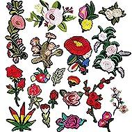Dandan DIY 20pcs Assorted Flowers Sew On/Iron On Patch Applique Kid Clothes Dress Plant Hat Jeans Sewing Flowers Applique Decoration Accessory