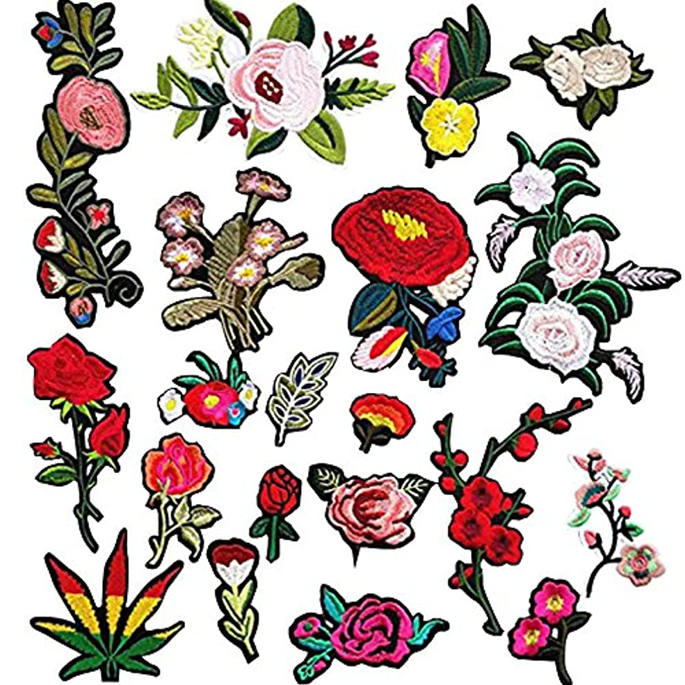 Dandan DIY 20pcs Assorted Flowers Sew On/Iron On Patch Applique Kid Clothes Dress Plant Hat Jeans Sewing Flowers Applique Decoration Accessory
