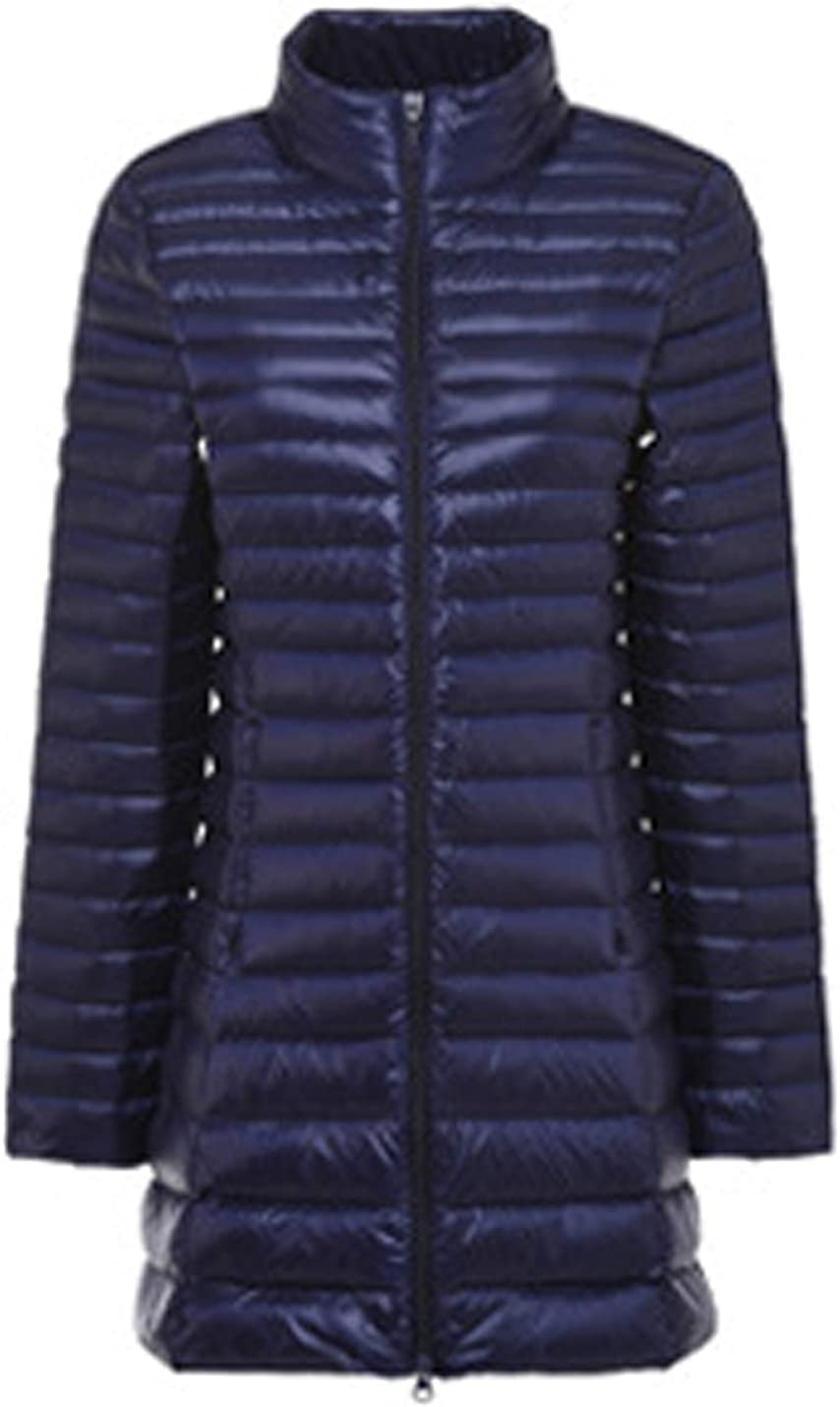 Uaneo Women's Slim Mid Long Zipper Stand Collar Quilted Puffer Down Jackets(Blue-XS)