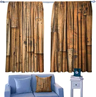 Wooden Sliding Curtains Lodge Style Teak Hardwood Wall Planks Image Print Farmhouse Vintage Grunge Design Artsy Suitable for Bedroom Living Room Study, etc.55 Wx72 L Brown
