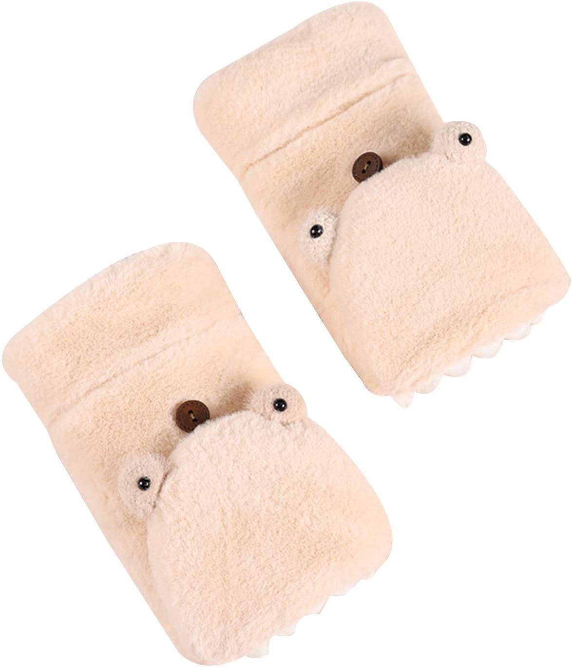 FOLDING Gloves Cute Cartoon Knitted Foldable Fingerless Gloves with Girl Gloves (Color : White)