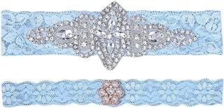 LINSINCH Wedding Garters for Bride Garter Set for Bride Blue Wedding Garter Belts