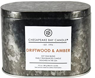 Chesapeake Bay Candle Tin with Double Wick Scented Candle, Driftwood & Amber