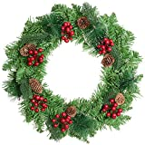 Lvydec 17 Inch Christmas Wreath - Artificial Spruce Wreath with Red Berries and Pine Cones for Christmas Front...