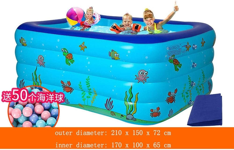 四輪特大パドリングプール大人子供屋内と屋外のインフレータブルプール、入浴プール、ブルー (Color : A, Size : 210x150x72cm)