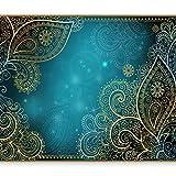 murando - Fototapete selbstklebend 343x256 cm Tapete Wandtapete Wandbilder Klebefolie Dekofolie Tapetenfolie Wand Dekoration Wohnzimmer - Orient Ornament bokeh grau gold blau türkis...