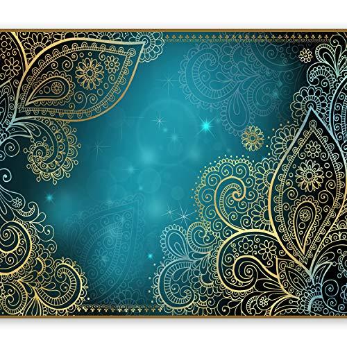 murando Fototapete 300x210 cm Vlies Tapeten Wandtapete XXL Moderne Wanddeko Design Wand Dekoration Wohnzimmer Schlafzimmer Büro Flur Orient Ornament bokeh grau gold blau türkis f-A-0146-a-b