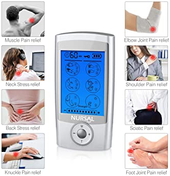 NURSAL EMS TENS Unit Muscle Stimulator with 8 Electrode Pads/Storage Pouch/Pads Holder, Rechargeable 16 Modes Electro...