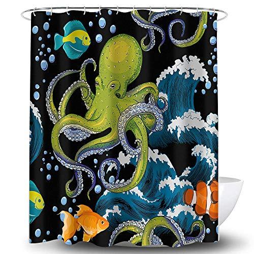 Whim-Wham Funny Octopus Wave Duschvorhang Tentakel Big Great Spray Sea Wildlife Monster Ocean Squid Nautical Kraken Bubbles Boho Cartoon Fisch Badezimmer Decor Vorhang Set mit 12 Haken