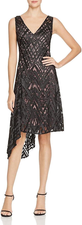 Aidan Mattox Womens Lace Overlay Asymmetrical Cocktail Dress