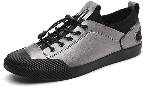 Ofgcfbvxd-SHSp Chaussures de Sport antidérapantes pour Hommes Mode baskets Lace Up Style Ox Cuir Anti-Collision Toe Zipper élastique Bas Chaussures De Sport pour Escalade Camping Randonnée Marche