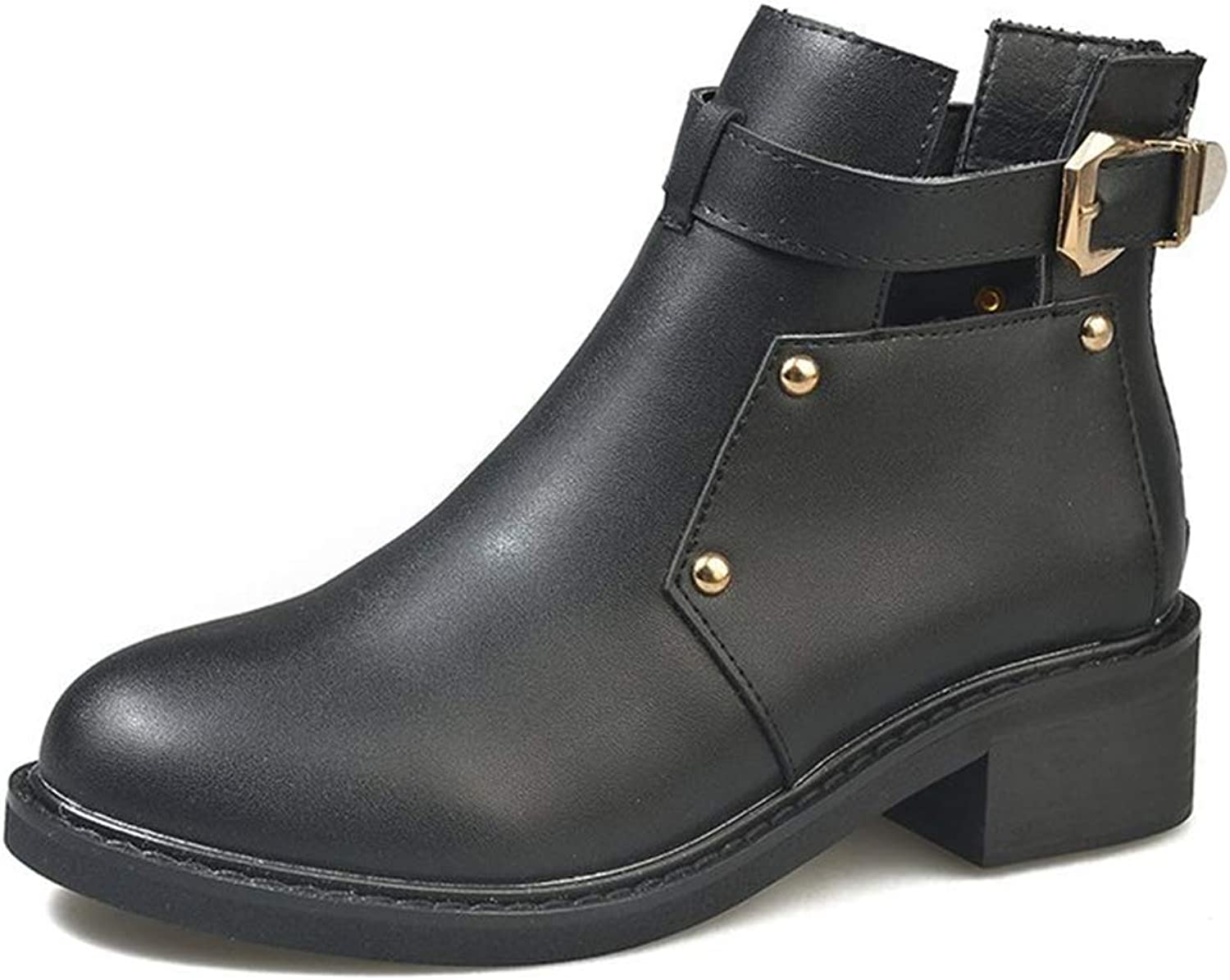 Women's Ankle Boots, Fashion Martin Boots Thick Heel Boots Autumn New Round Head Chelsea Boots Party & Evenin Dress shoes (color   Black, Size   36)
