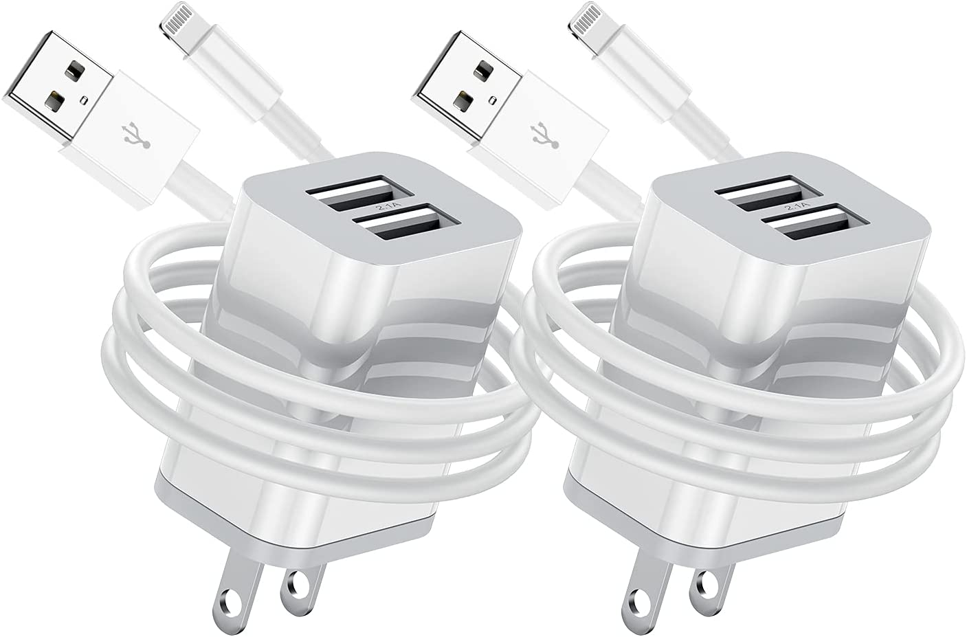 Long iPhone Charger Cable 10ft with Wall Plug, 2Pack Apple MFI Certified Lightning Cable with Dual Port USB Wall Charger Block Cube Adapter for iPhone 11 Pro/XS Max/XR/X 8/7/6/6S Plus/SE/5C/iPad