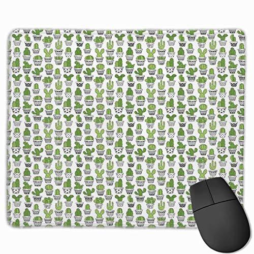 ADONINELP Mauspad, Sukkulente, stachelige Kakteen mit Doodle-Muster, exotische Zimmerpflanzen, bedruckte, rechteckige, rutschfeste Gummi-Mauspads mit genähten Kanten Gaming-Mauspad für Computer-Laptop