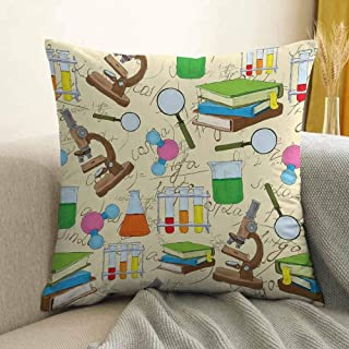 Antony Petty Kids Microfiber Science Education Lab Sketch Books Equation Loupe Microscope Molecule Flask Print Sofa Cushion Cover Bedroom car Decoration W16 x L24 Inch Multicolor