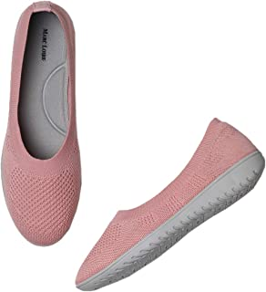 Marc Loire Women's Athleisure Lightweight Active Wear Knitted Mesh Slip on Comfortable Casual Flat Ballerina Shoes for Wal...