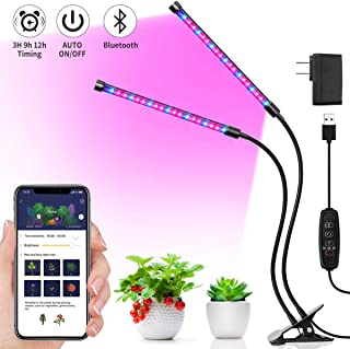 MINGER 20W Grow Light, LED Plant Light with APP, 6 Dimmable Modes, Red/Blue Full Spectrum LED UV Growing Lamps with Timer, Dual Head Adjustable Gooseneck Auto On/Off Growing Light for Indoor Plants
