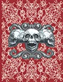 Gothic Notebook: Gothic skull composition notebook red vintage lace pattern: college ruled; 8.5 x 11'; 100 pages. Large writing journal for women, men, students or back-to-school gift