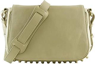 Lush Leather Small Edgy Studded Bottom Flap Shoulder Ivory Bag
