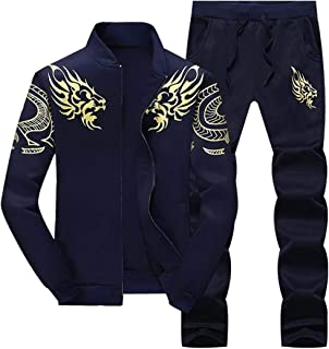 Macondoo Mens Jacket Coat Pants Casual Sportwear Sport Print Tracksuit Set