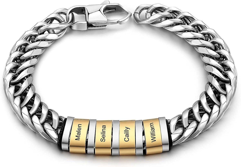 Personalized Mens Silver Black Braid Superlatite w Steel Department store Bracelets Stainless