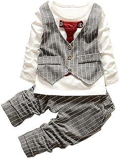 Morbuy, Morbuy Ropa de Bebé, Recién Chico Nacido Ropa del bebé de la Muchacha Ciervo Tops Camiseta Pantalones Polainas Conjunto de 2 Piezas (12M 80CM, Gris)