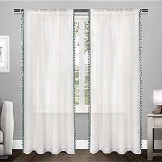 ستائر نافذة شفافة منقوشة من القماش منقوش عليها زخرفة من متجر Exclusive Home Tassels مع جيب قضيب 54x84 بلون أزرق مخضر قطعتان