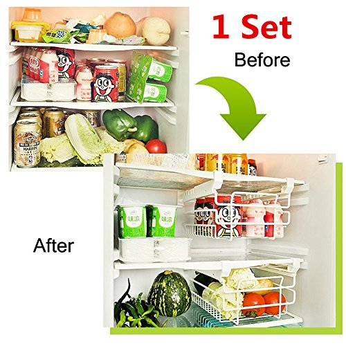 IYOWEL Fridge Freezer Drawer Stackable Storage Boxes Bins Clear Under Shelf Drawer type storage and sorting rack, telescopic clapboard hanger ( Set of 1)