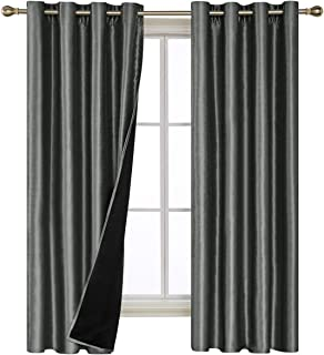 Deconovo Total Blackout Curtains Grommet Thermal Insulated Room Darkening Dupioni Silk Lined Blackout Curtains for Bedroom Dark Grey 2 Curtain Panels