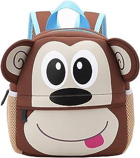 Kinderrucksack Bunter Leichter und Moderner Babyrucksack Süßer Cartoon Tier Design auf der Schultasche für Kinder 2-5 Jahre Alt für Junge und Mädchen AFFE